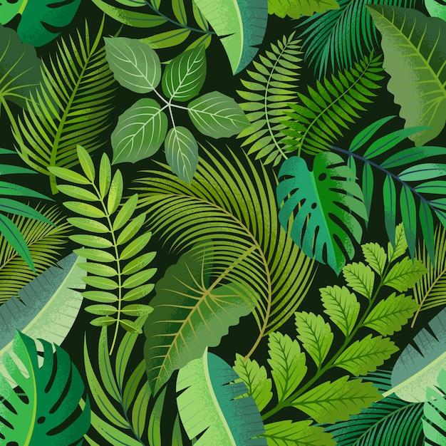 Тропический бесшовные модели с зелеными пальмами листья на темном фоне. Premium векторы