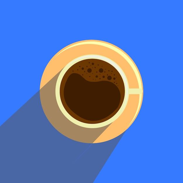 青い背景上のフラットスタイルのコーヒーカップ。 Premiumベクター