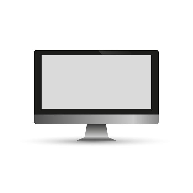 透明な背景に分離された現実的なコンピューターモニター。ベクトルモックアップ。ベクトルイラスト Premiumベクター