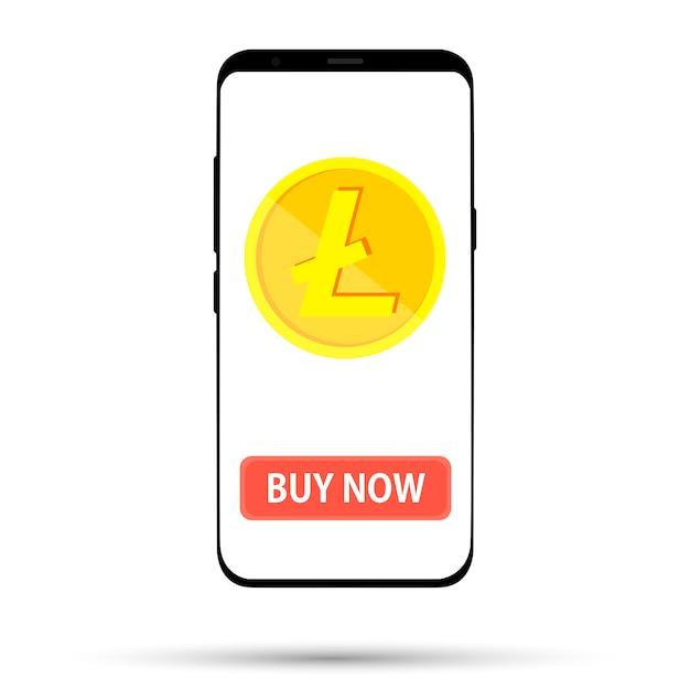 Купить монету валюту, изображенную на экране телефона на белом Premium векторы