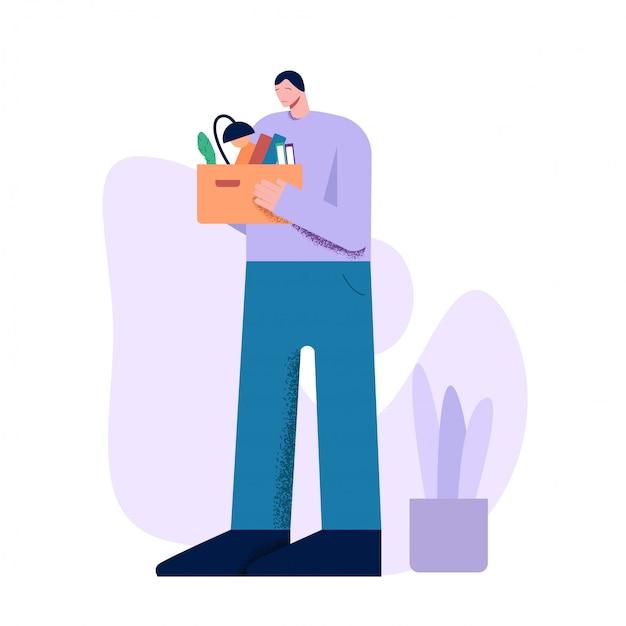 Несчастный мультяшный мужчина держит коробку с вещами после увольнения Premium векторы
