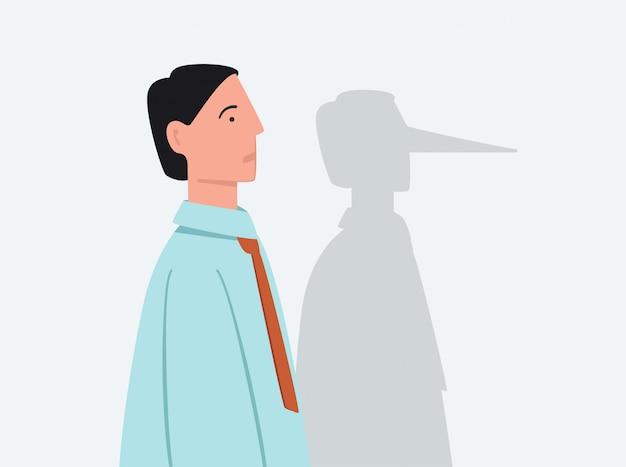 Мультяшный бизнесмен с тенью длинной лжи нос плоской иллюстрации Premium векторы