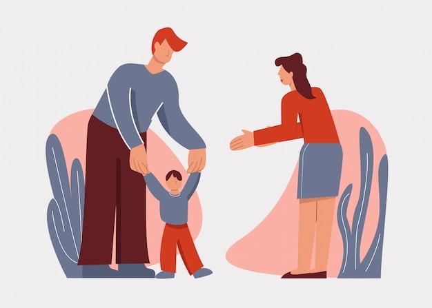 思いやりのある漫画の両親は白で隔離される屋外小さな赤ちゃんの息子の学習を学習を支援 Premiumベクター