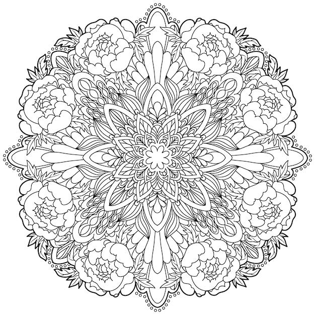 マンダラ。民族の装飾的な要素。イスラム、アラビア、インド、オスマン帝国のモチーフ。 Premiumベクター
