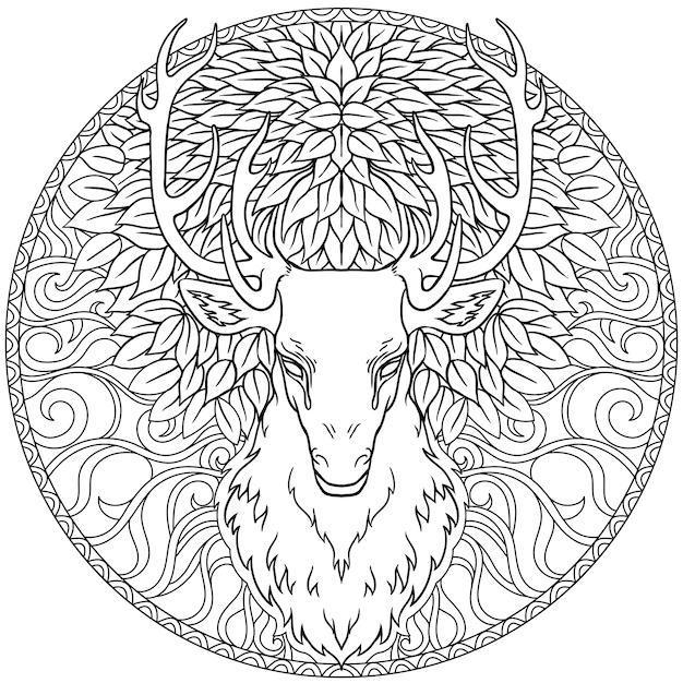 美しい手描きのトライバルスタイルの鹿の頭は華やかなマンダラの上。白黒で魔法のビンテージベクトル図。スピリチュアルアート、ヨガ、自由奔放に生きるスタイル、自然と荒野。 Premiumベクター