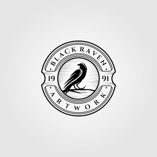 ヴィンテージブラックレイヴンまたはカラスのロゴ Premiumベクター