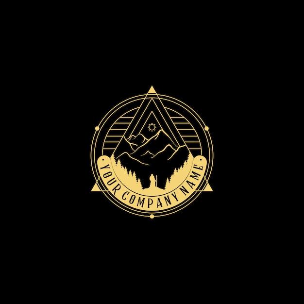 Абстрактный характер логотипа. геометрический знак наброски значок абстрактных фигур пирамиды, мужчина ищет большую гору Premium векторы