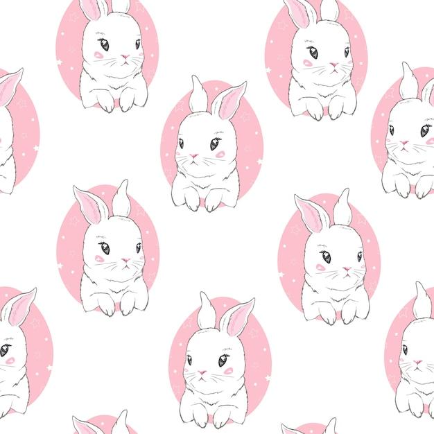 漫画のウサギと幼稚なシームレスパターン Premiumベクター