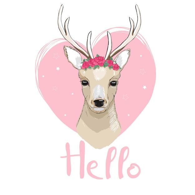 鹿漫画イラストデザイン。かわいいバンビ動物のベクトル。 Premiumベクター