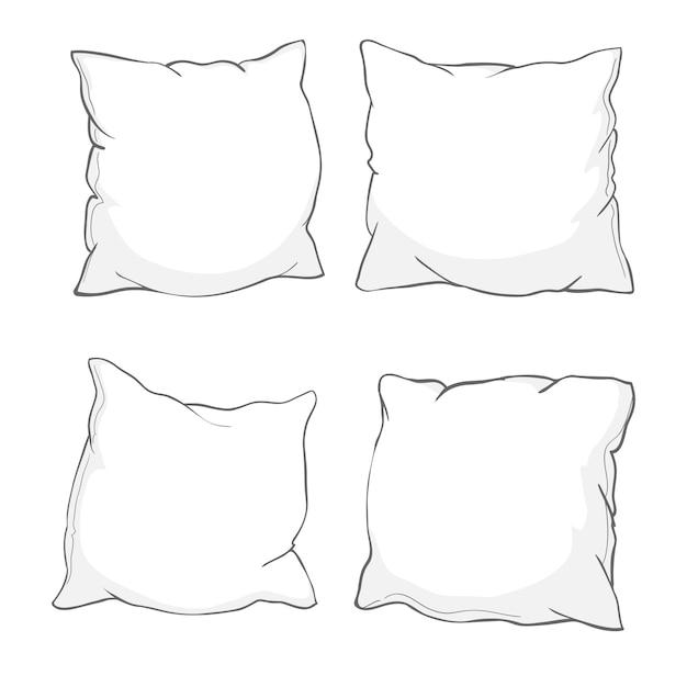 枕、アート、分離された枕のスケッチ Premiumベクター