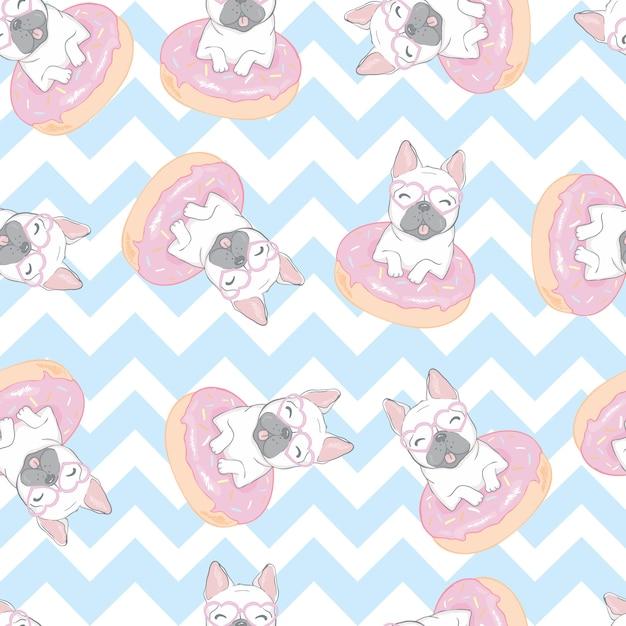 フレンチブルドッグ犬のシームレスパターン Premiumベクター