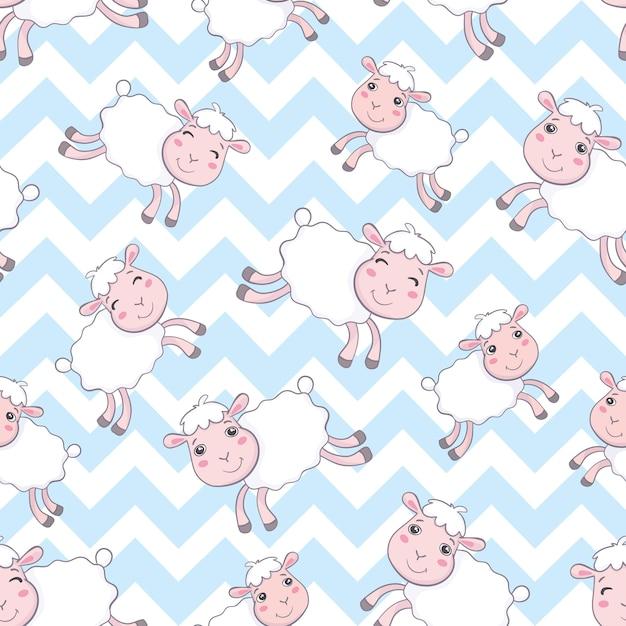 かわいい羊のシームレスパターン Premiumベクター