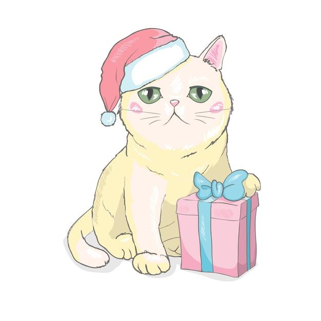 Ручной обращается векторная иллюстрация милый забавный кот лицо в шапке санта-клауса Premium векторы