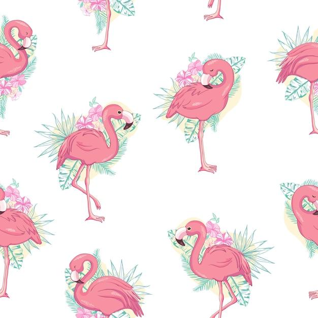 Тропический фламинго бесшовный фон Premium векторы
