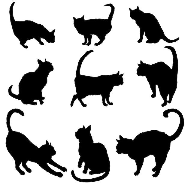 猫のシルエットのセット Premiumベクター