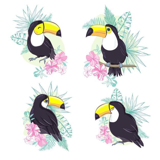 ベクトル形式の素敵なオオハシのイラスト。保育園や学校での子供の教育と楽しみ、および装飾目的のためのかわいいオオハシ鳥の画像。ジャングル動物コレクション Premiumベクター