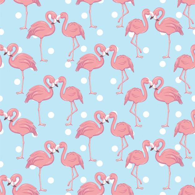 Бесшовный фон с мультяшным розовым фламинго Premium векторы