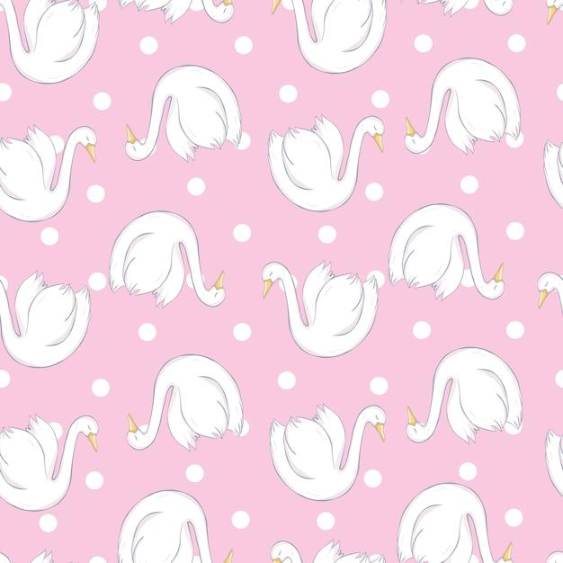 Бесшовный фон с белыми лебедями. белые лебеди на розовом фоне. векторная иллюстрация Premium векторы