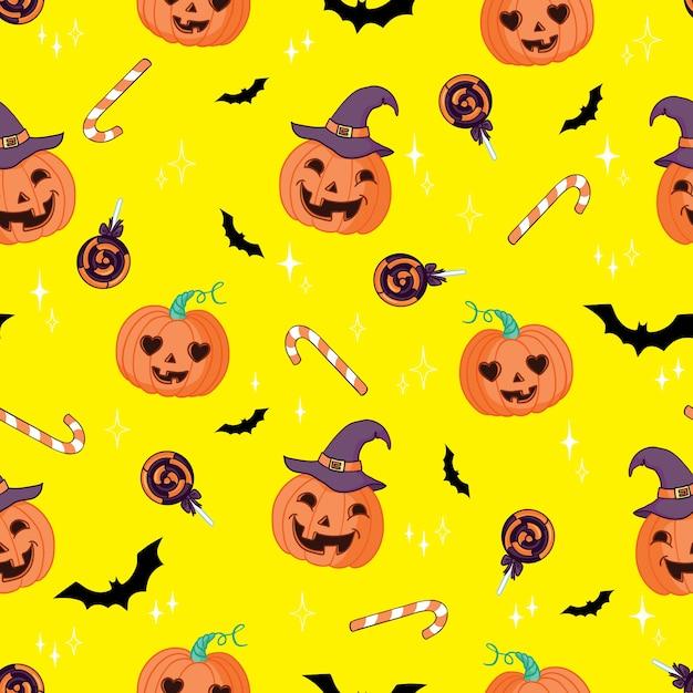 ハロウィーンのシームレスなパターンベクトル。ハロウィーンをテーマにしたカボチャ、ゴースト、コウモリ、キャンディー、その他のアイテム。ハロウィーンの明るい漫画のパターン Premiumベクター