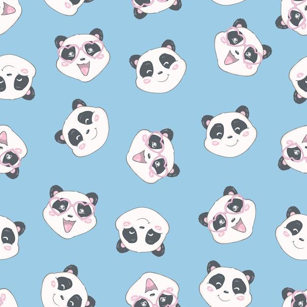 Мультфильм бесшовные панда Premium векторы