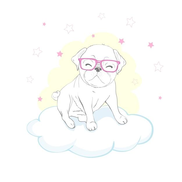 雲の中のパグ犬漫画 Premiumベクター