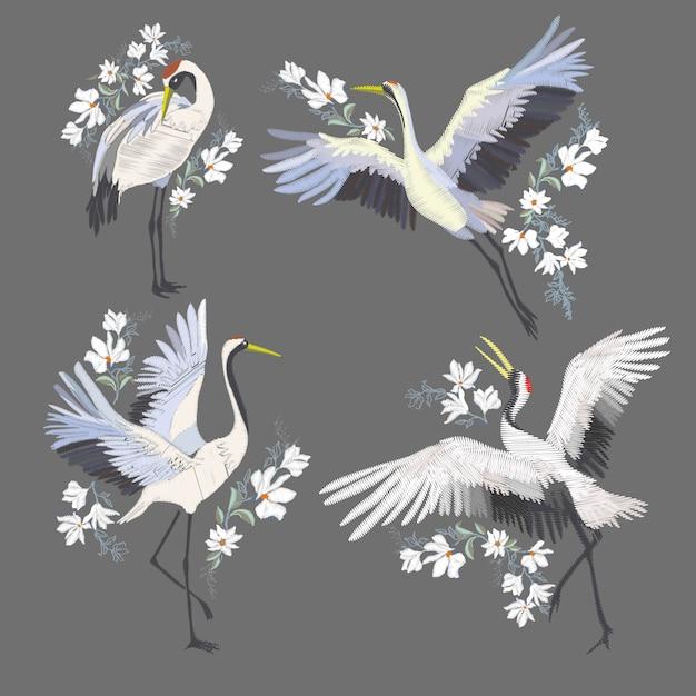 クレーン鳥の刺繍 Premiumベクター