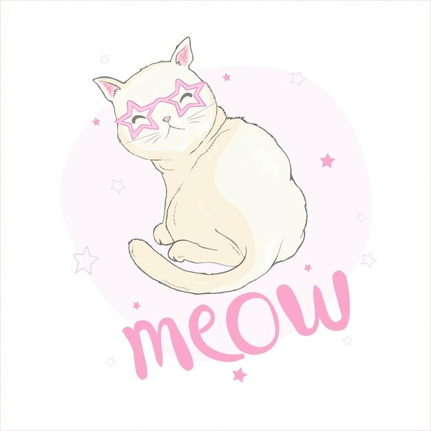 かわいい面白いユニコーン猫の手描きの背景イラスト Premiumベクター