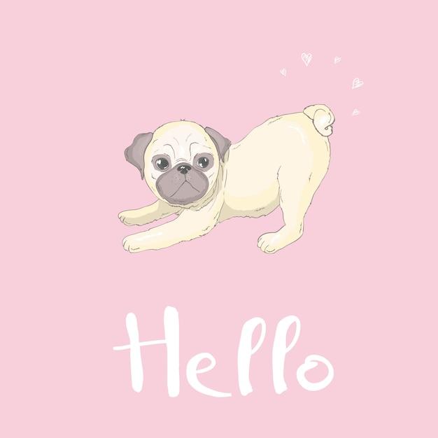 赤い舌と幸せそうな顔でかわいいパグ犬フラットキャラクター Premiumベクター