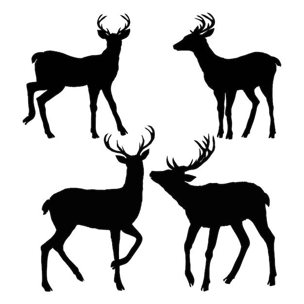 鹿のシルエット、ベクター、イラスト Premiumベクター