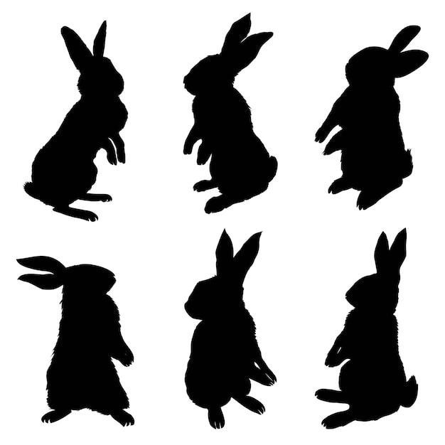 座っているウサギ、ベクトルイラストのシルエット Premiumベクター