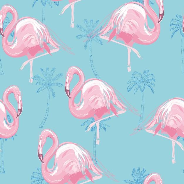 Красивые бесшовные векторные тропический узор фон с фламинго и гибискус Premium векторы