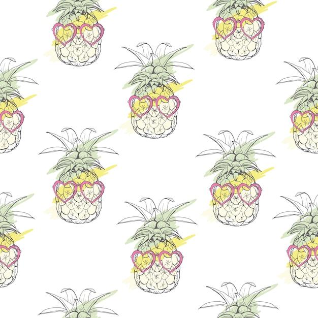 パイナップルとシームレスなパターンベクトル Premiumベクター