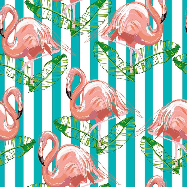 Красивые бесшовные векторные тропический узор с фламинго и гибискус. идеально подходит для обоев Premium векторы
