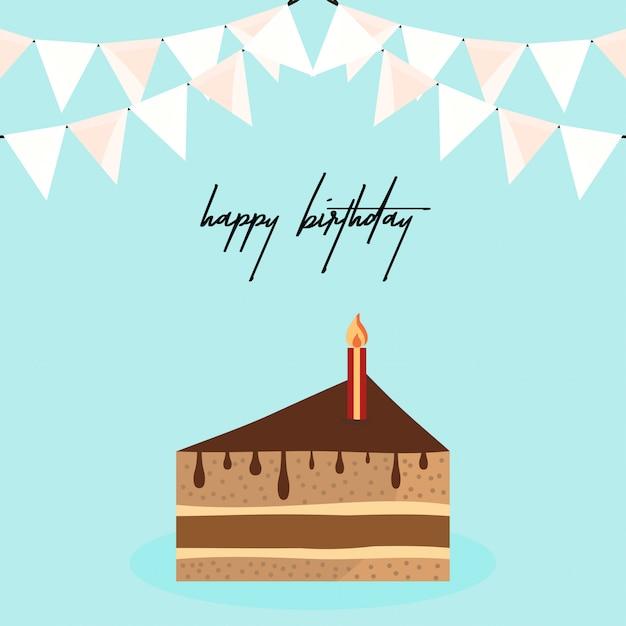 Поздравительная открытка с элегантным дизайном и тортом Бесплатные векторы