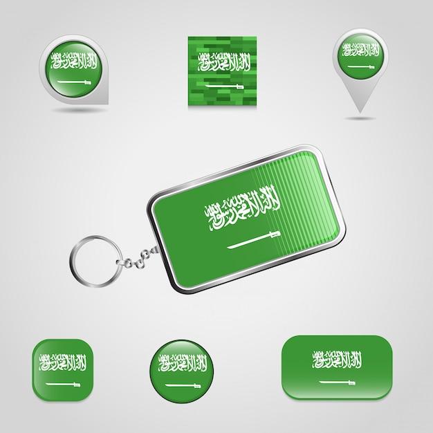 Набор иконок для дизайна флагов саудовской аравии Бесплатные векторы