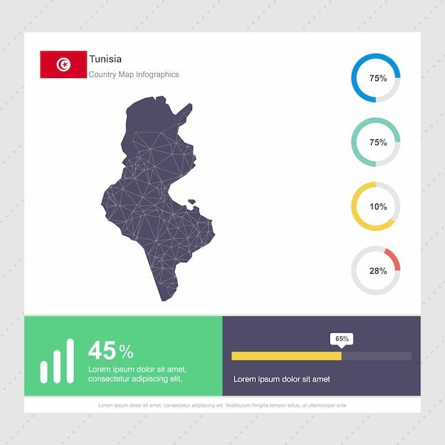 チュニジア地図とフラグインフォグラフィックステンプレート 無料ベクター