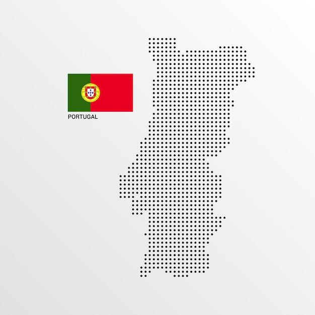 ポルトガルの旗と明るい背景ベクトルを持つ地図デザイン 無料ベクター