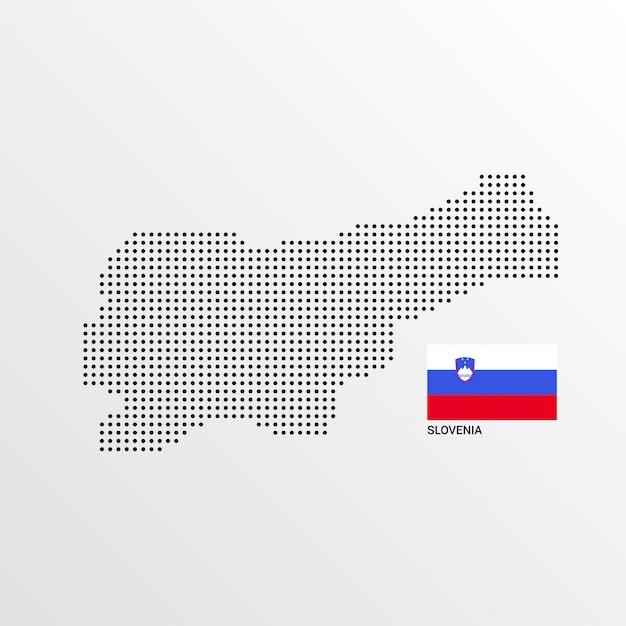 スロベニアフラグと明るい背景ベクトルと地図のデザイン 無料ベクター
