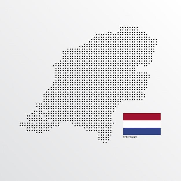 フラグと明るい背景ベクトルを持つオランダの地図デザイン 無料ベクター