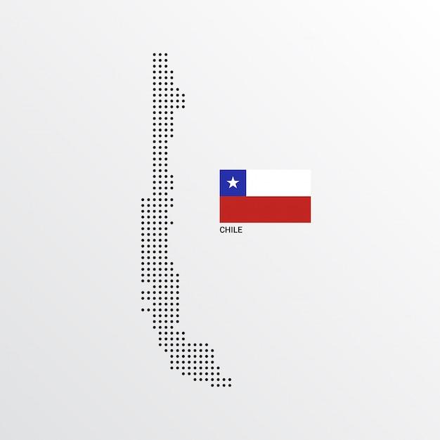 フラグと明るい背景ベクトルとチリの地図デザイン 無料ベクター