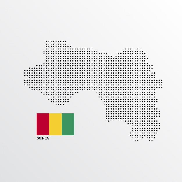 フラグと明るい背景ベクトルとギニアの地図デザイン 無料ベクター