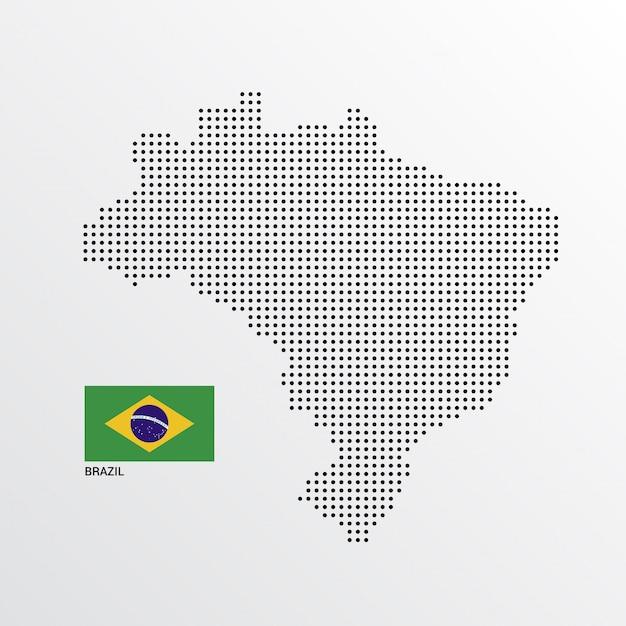 Бразилия дизайн карты с флагом и светлым фоном Бесплатные векторы