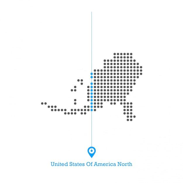米国のドットマップデザインベクター Premiumベクター