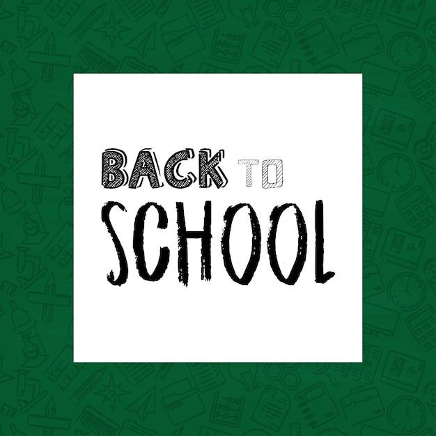 緑色の背景の学校デザイン要素ベクトルに戻る Premiumベクター