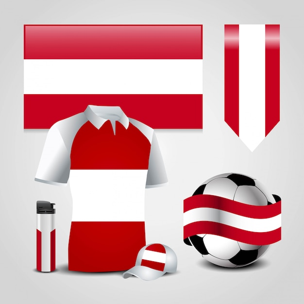 Векторный флаг австрии Premium векторы