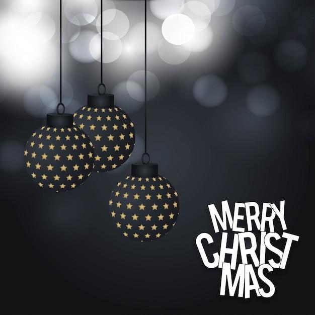 エレガントなデザインと暗い背景ベクトルとクリスマスカードのデザイン Premiumベクター