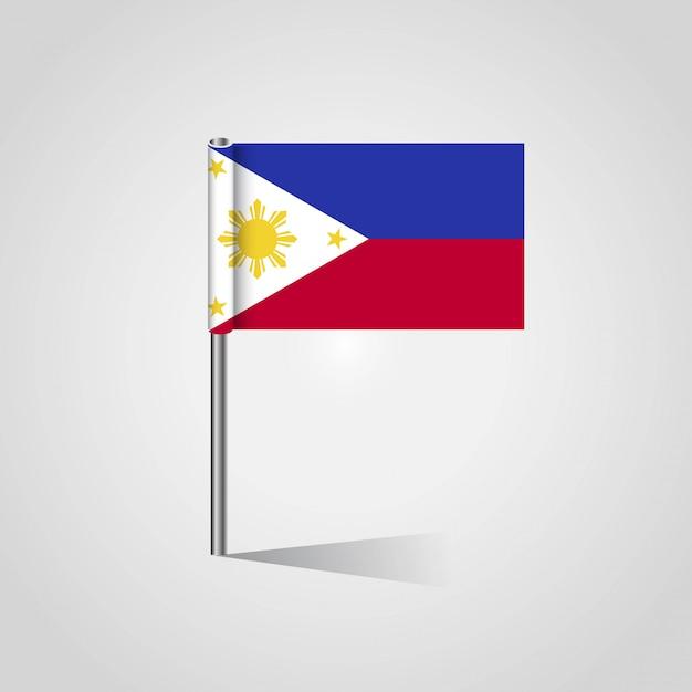 Филлипинский флаг с креативным вектором дизайна Premium векторы