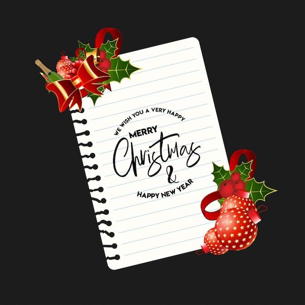 エレガントなデザインと暗い背景とクリスマスカードのデザイン Premiumベクター