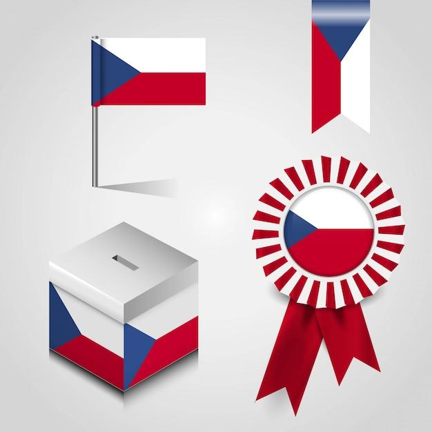 Чешский флаг страны Premium векторы