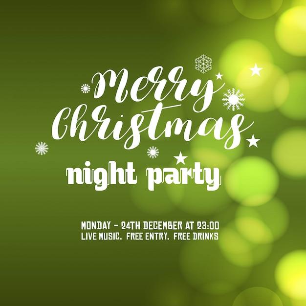 メリークリスマスナイトパーティーの背景 無料ベクター